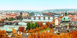 landscape view to Charles bridge on Vltava river in Prague