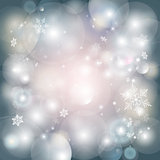 Christmas light background with snowflakes