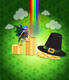 St Patricks day design with fairy