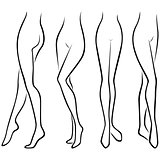 Set of lower parts of slim female body