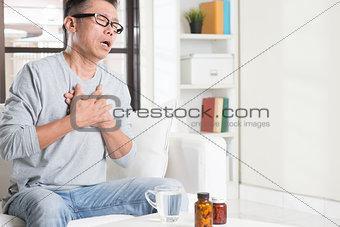 Mature Asian man heart attack