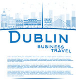 Outline Dublin Skyline with Blue Buildings and copy space