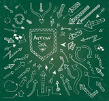 Hand drawn arrow icons set on green chalk board