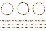 Round festive frames with flags, endless horizontal texture.