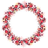 Round frame with different red snowflakes.