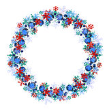 Round frame with different blue snowflakes.