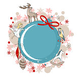 Round blue frame with Christmas decor