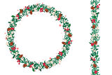 Round Christmas wreath with fir cones and mistletoe isolated on white. Endless vertical pattern brush.
