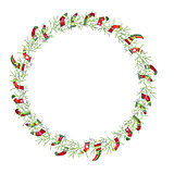 Round Christmas wreath with Santa socks isolated on white.