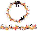 Round Halloween wreath with pumkins isolated on white. Endless horizontal pattern brush.