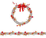 Round autumn wreath with berries and apples isolated on white. Endless horizontal pattern brush.