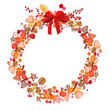Round festive wreath with fruits, cookies, berries and leaves isolated on white.