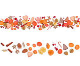 Christmas festive garland with fruits, cookies, berries,spice and candies isolated on white. Seamless pattern brush.