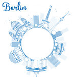 Berlin skyline with blue building and copy space