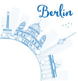 Berlin skyline with blue building and copy space.