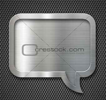 aluminum metal speech bubble frame over grid background