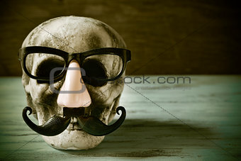 skull with eyeglasses, fake nose and mustache, filtered