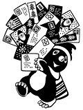 cartoon mole holding greeting cards