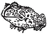 pac-man frog black white