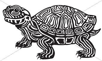 cartoon turtle black and white