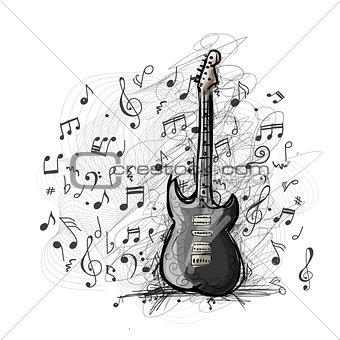 Art sketch of guitar design