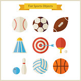 Flat Sports Objects Set