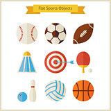 Flat Sports Objects Set