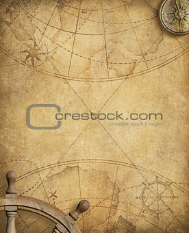old nautical map with compass and steering wheel