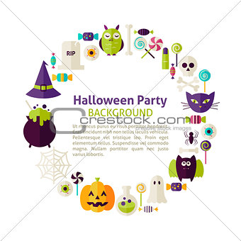 Flat Style Vector Circle Template Collection of Halloween Party