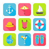 Flat Summer Holidays and Resort Squared App Icons Set
