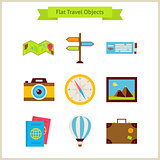 Flat Travel Objects Set