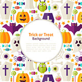 Flat Vector Halloween Trick or Treat Background