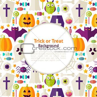 Flat Vector Halloween Trick or Treat Background