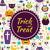 Flat Vector Trick or Treat Halloween Background