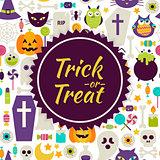 Flat Vector Trick or Treat Halloween Background