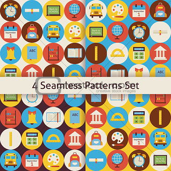 Four Vector Flat Seamless Back to School Patterns Set with Color