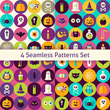 Four Vector Flat Halloween Party Patterns Set with Colorful Circ