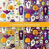 Four Vector Flat Seamless Halloween Party Patterns Set
