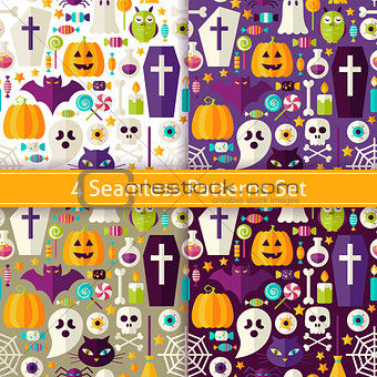 Four Vector Flat Seamless Halloween Party Patterns Set