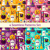 Four Vector Flat Seamless Scary Halloween Patterns Set