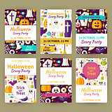 Halloween Flat Vector Party Invitation Template Set