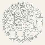 Halloween Holiday Line Icons Set Circular Shaped