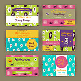 Halloween Vector Party Invitation Template Flat Set