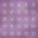 Line Circle Shop Market E-commerce Icons Set
