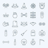 Line Holiday Halloween Icons Set