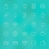 Shopping and Money Line Icons Set over Blurred Background