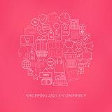 Thin Line E-commerce Business Money Icons Set Circle Shaped Conc