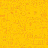 Thin Line Holiday Christmas Yellow Seamless Pattern