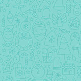 Thin Line Winter Happy New Year Seamless Blue Pattern