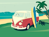 Van surf retro illustration